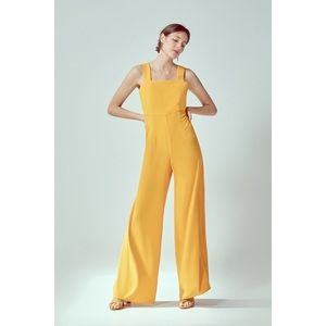 Cortefiel Yellow Square Neck Wide Leg Jumpsuit